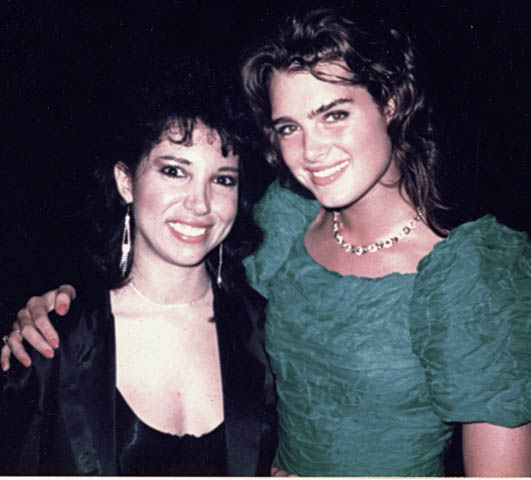 With Brooke Shields at her 21st birthday party