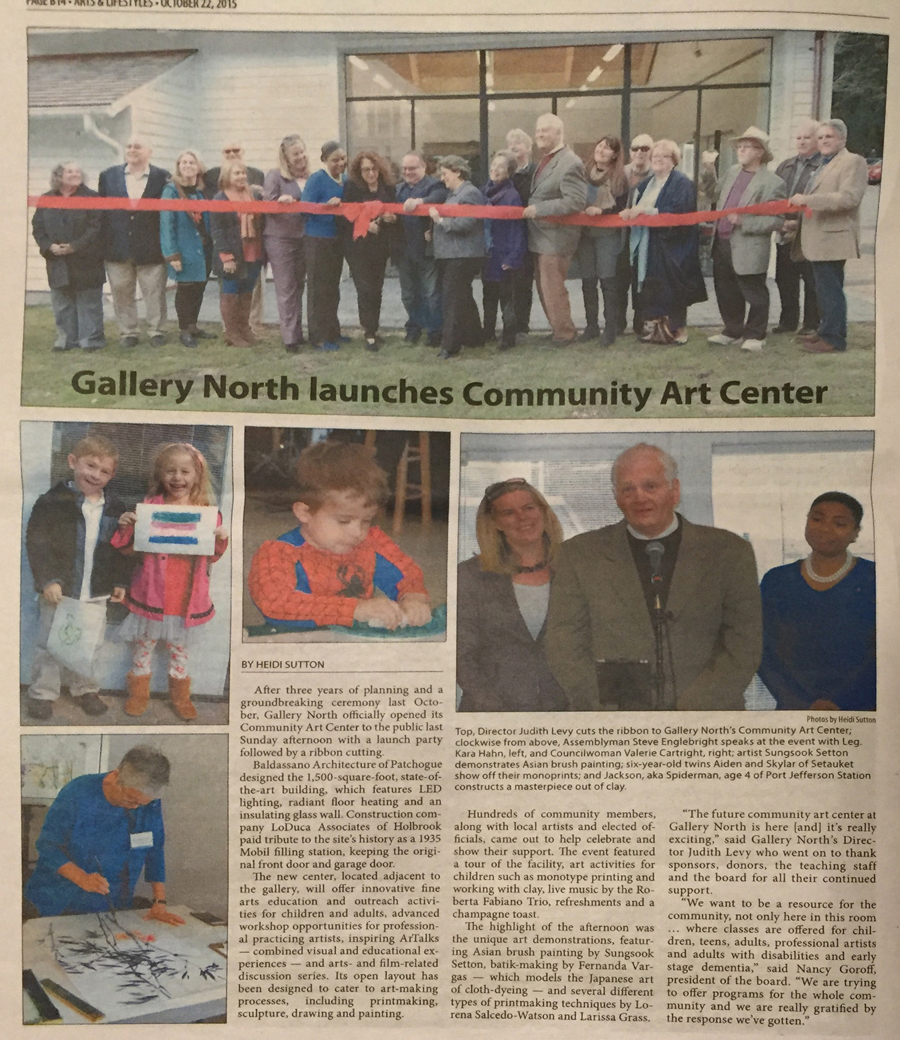 The Three Village Times Herald - Gallery North Community Art Center Grand Opening, Setauket, NY.