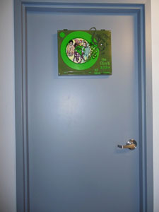 Green Room Sign on Door