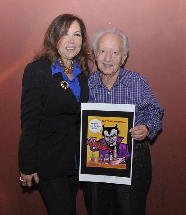 Tony Tallirico wins my cartoon Bartender From Hell at the Berndt Toast Halloween Cartoon Raffle 2015!