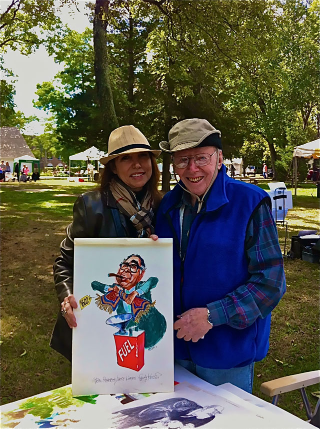With Sandy Kossin and one of his wonderful cartoons of Art Buchwald that was in Reader's Digest